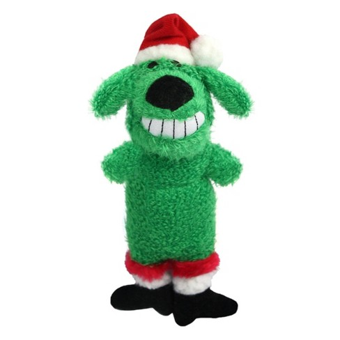 Multipet Loofa Santa Hat Dog Toy - Green - image 1 of 2