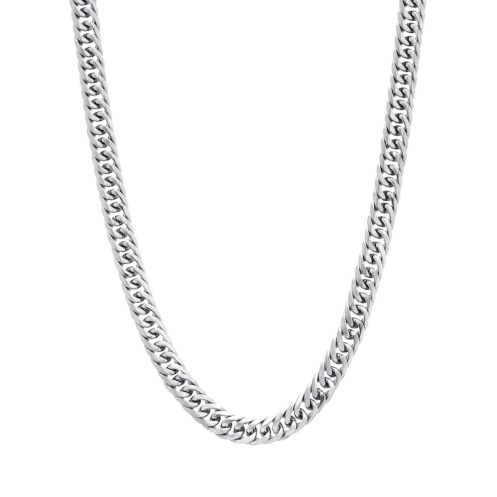 Men's Silver-Tone Stainless Steel Plain Unisex Double Curb Chain Necklace, Silver
