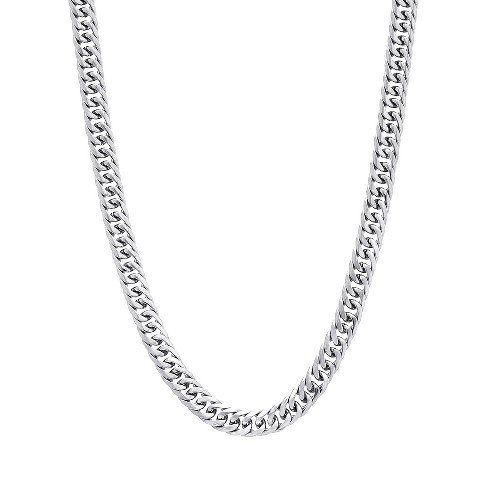 Men's Silver-Tone Stainless Steel Plain Unisex Double Curb Chain Necklace - image 1 of 3