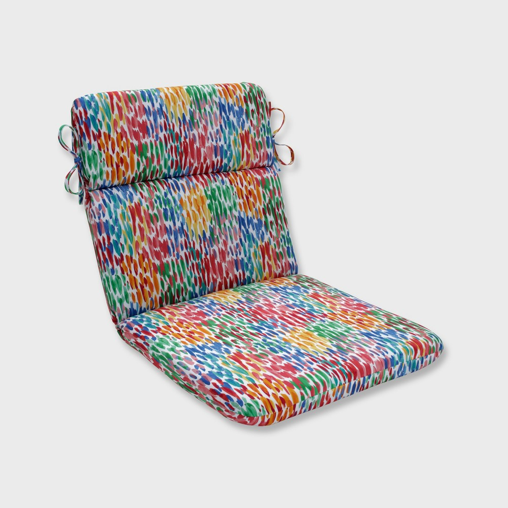 Make It Rain Rounded Corners Outdoor Chair Cushion Zinnia Blue - Pillow Perfect