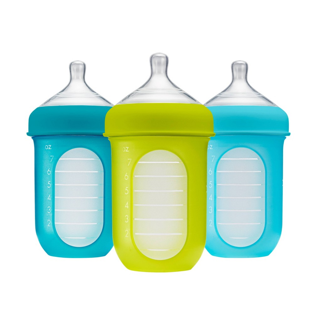 Image of Boon NURSH 8oz 3pk Silicone Bottle Blue