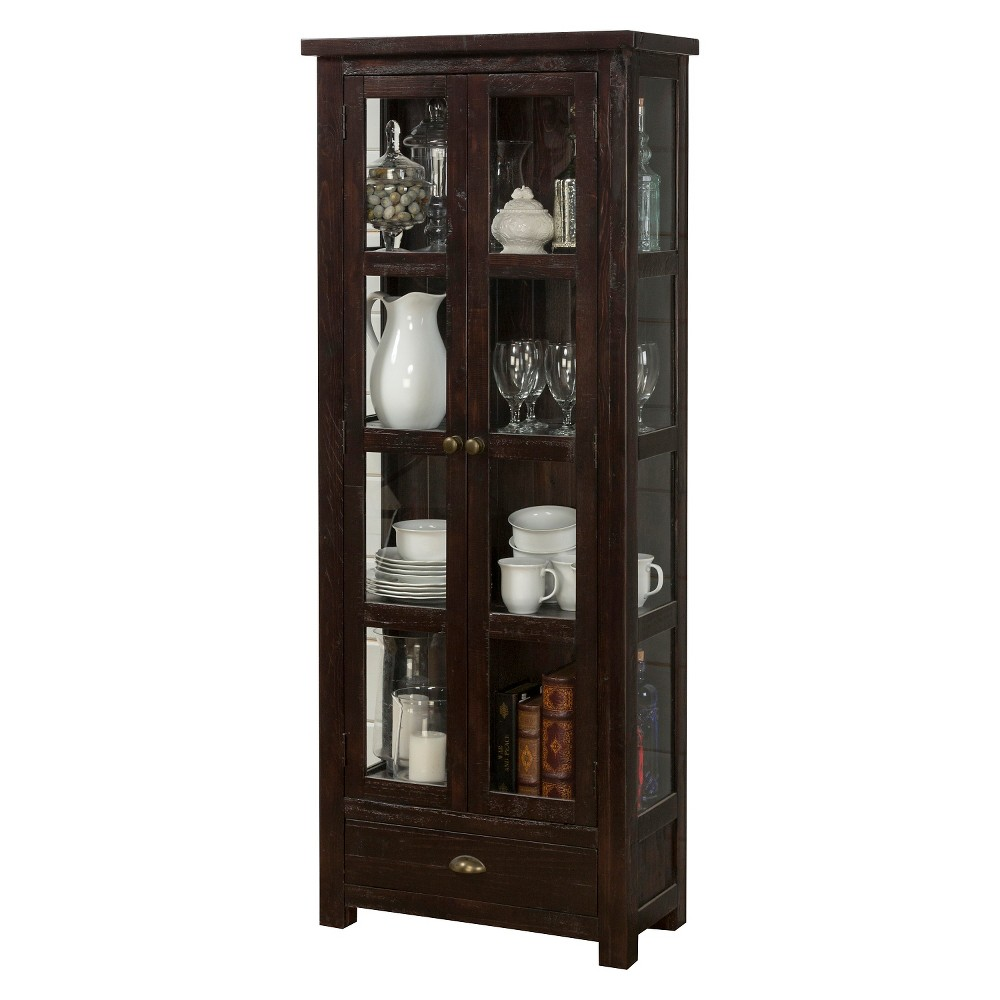Prospect Creek Pine Tall Display Cupboard Wood/Dark Brown - Jofran Inc. Life takes space, and we need to make the most of it. Our Prospect Creek Pine Tall Display Cupboard is a great place to start! With a relaxed cottage design featuring reclaimed pine and heirloom details, our Prospect Creek's deep finish introduces an element of depth and warmth with pieces that will be mainstays in your home for years to come. Plenty of storage with a slim profile make the Prospect Creek Pine Tall Display Cupboard the ideal solution to kitchen or dining room storage needs. Color: Cocoa.