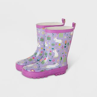Kids' Unicorn Garden Rain Boots Purple S - Kid Made Modern