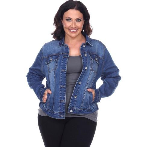 Women's Plus Size Soft Stretch Denim Jacket - White Mark - image 1 of 3