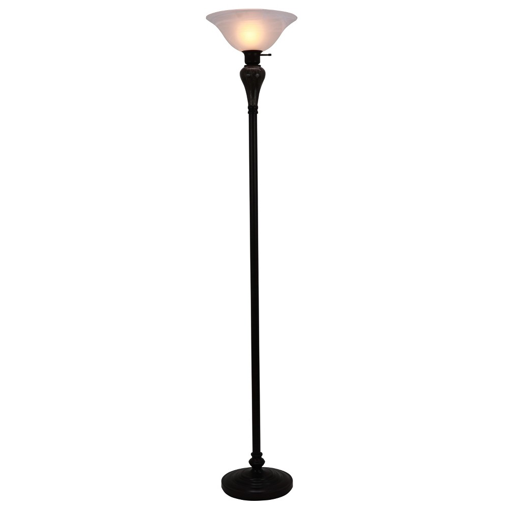 Faux Marble Torchier Floor Lamp Bronze (Lamp Only) - Decor Therapy