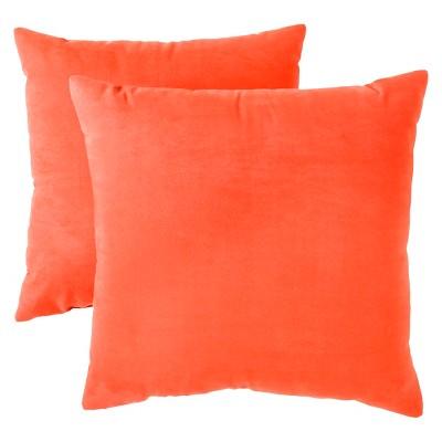 Orange Suede Throw Pillow (18 X18 , 2 Pk)- Room Essentials™