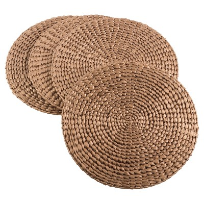 "4pk 15"" Hyacinth Hand Woven Round Placemat Gold - Saro Lifestyle"