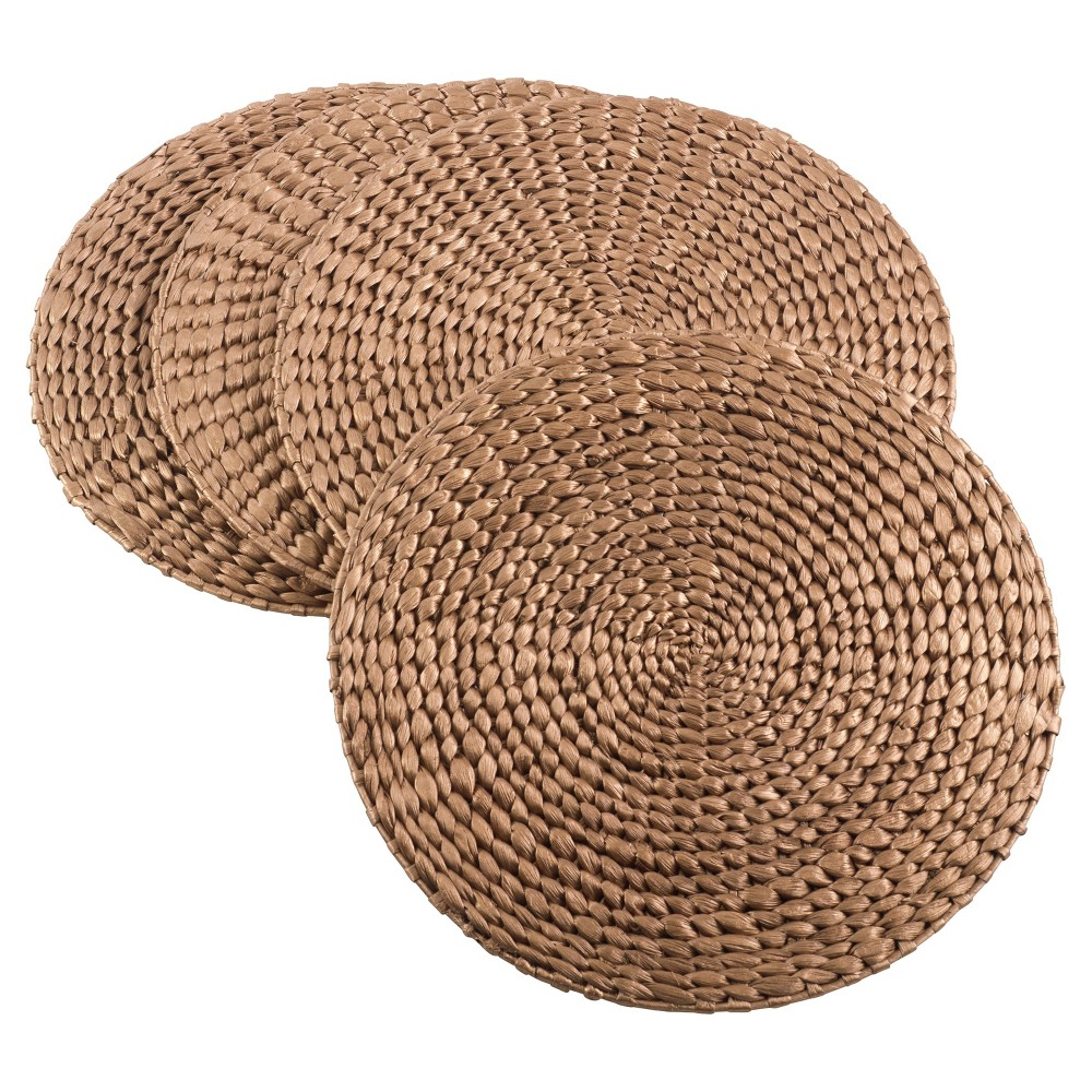 """Image of """"4pk Gold Hyacinth Round Hand Woven Placemat 15"""""""" - Saro Lifestyle"""""""
