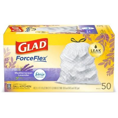 Glad ForceFlex + Tall Kitchen Drawstring White Trash Bags – Mediterranean Lavender Scent with Febreze Freshness – 13 Gallon - 50ct