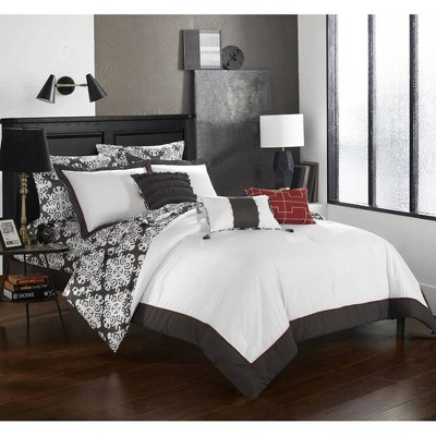 Chic Home Queen 10pc Lalita Comforter Set Gray