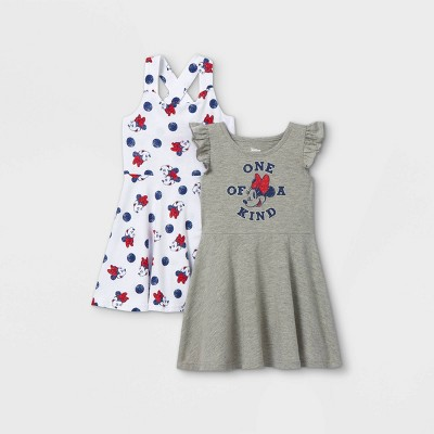 Toddler Girls' 2pk Minnie Mouse Sleeveless Knit Dress - Gray