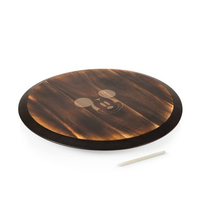 Picnic Time Mickey Mouse Fire Acacia Wood Lazy Susan Serving Tray