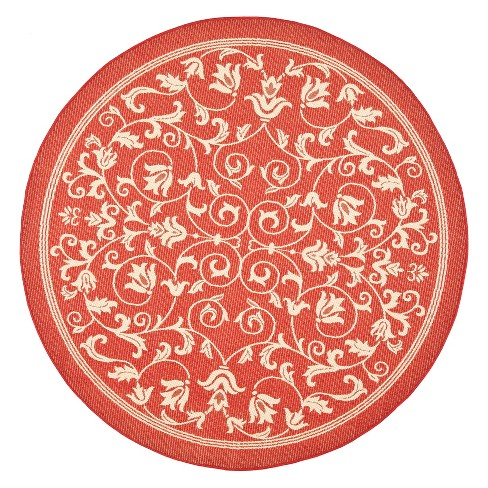 "Vaucluse Round 5'3"" Outdoor Rug - Red / Natural - Safavieh® - image 1 of 1"