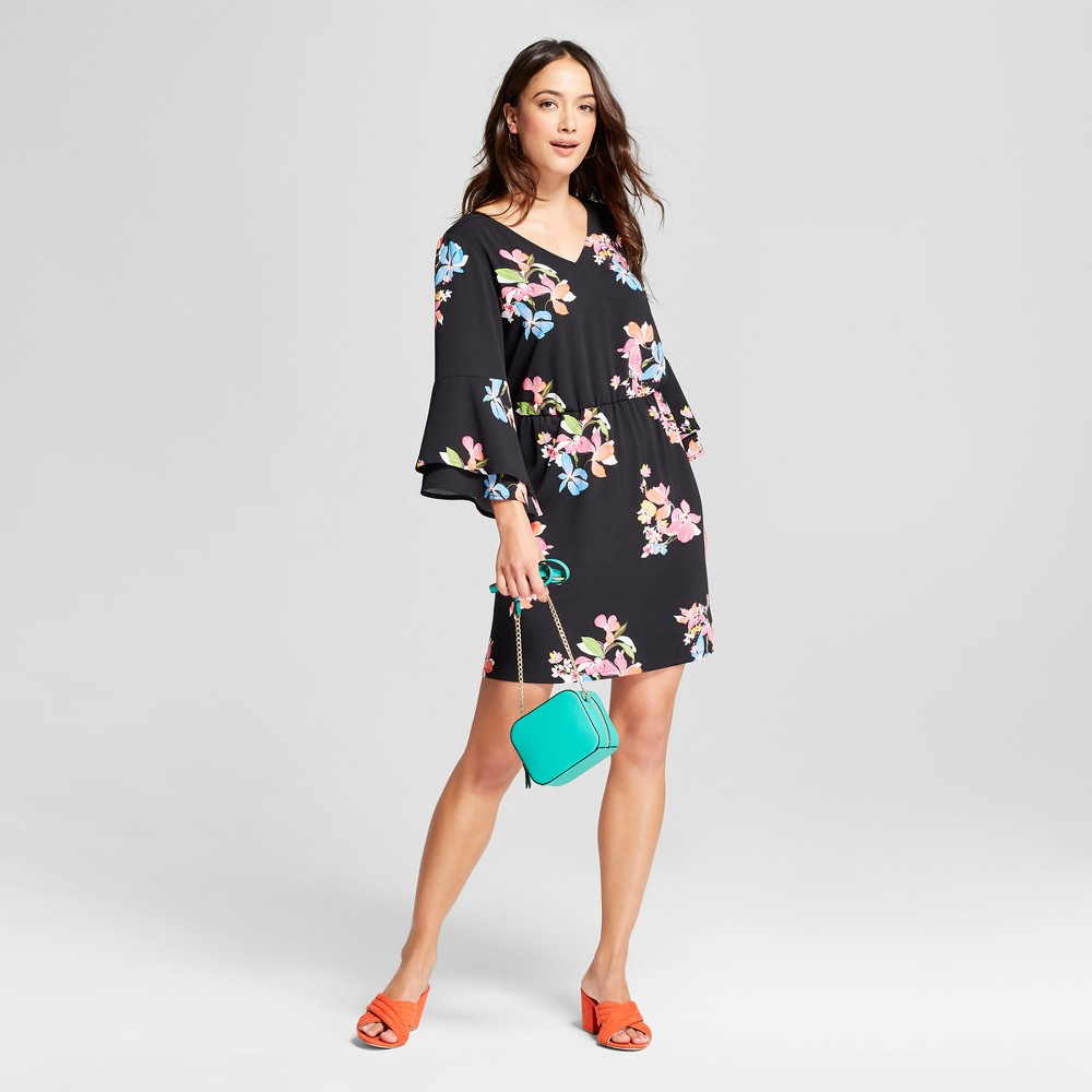 Women's Floral Tiered Bell Sleeve Dress - A New Day Black Multi M