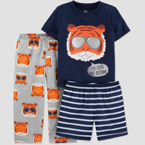 Toddler Boys' 3pc Poly Tiger Pajama Set - Just One You® made by carter's Navy/Orange/Blue - image 1 of 1