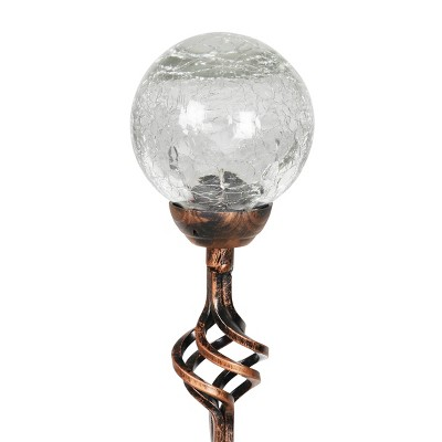 """31"""" Solar Resin/Glass Crackle Ball Finial Garden Stake Bronze - Exhart"""
