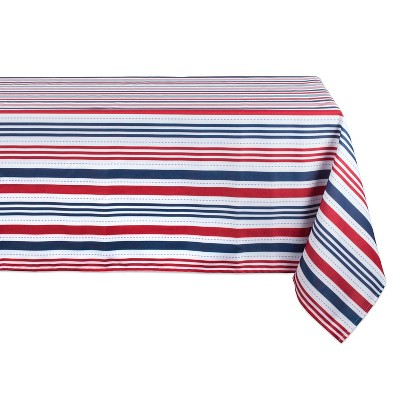 "120""x60"" Patriotic Stripe Outdoor Tablecloth Red/Blue - Design Imports"