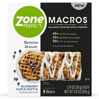 Zone Perfect Macros Blueberry Maple Waffle Nutrition Bars - 8.8oz/5ct