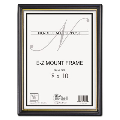 Nudell EZ Mount Document Frame/Accent Plastic 8 x 10 Black/Gold 11800
