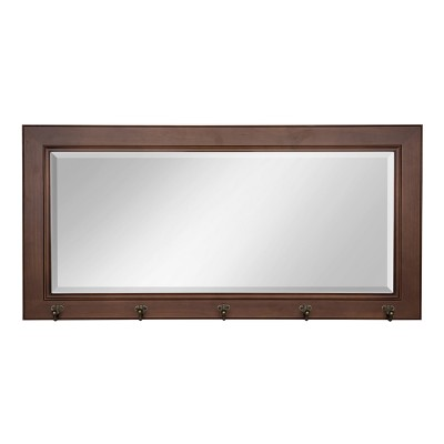 "36"" x 2"" Pub Mirror with Metal Hooks Walnut Brown - DesignOvation"