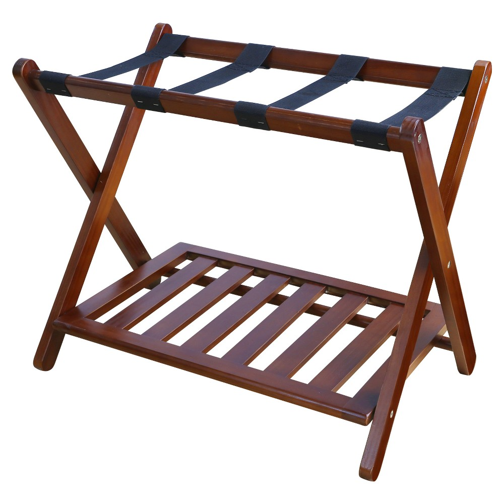 Luggage Rack with Shelf - Walnut (Brown) - Flora Home
