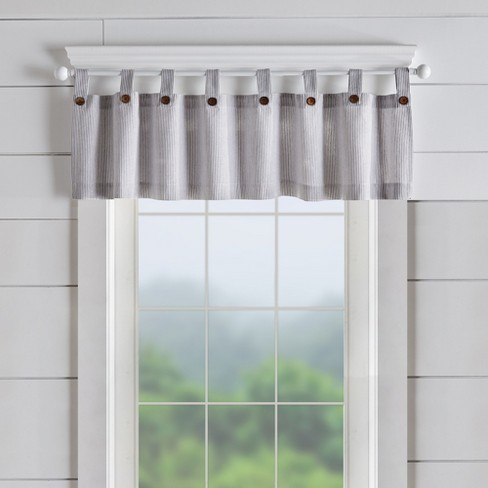 Tucker Ticking Stripe Button Tab Top Window Kitchen Valance Elrene Home Fashions Target