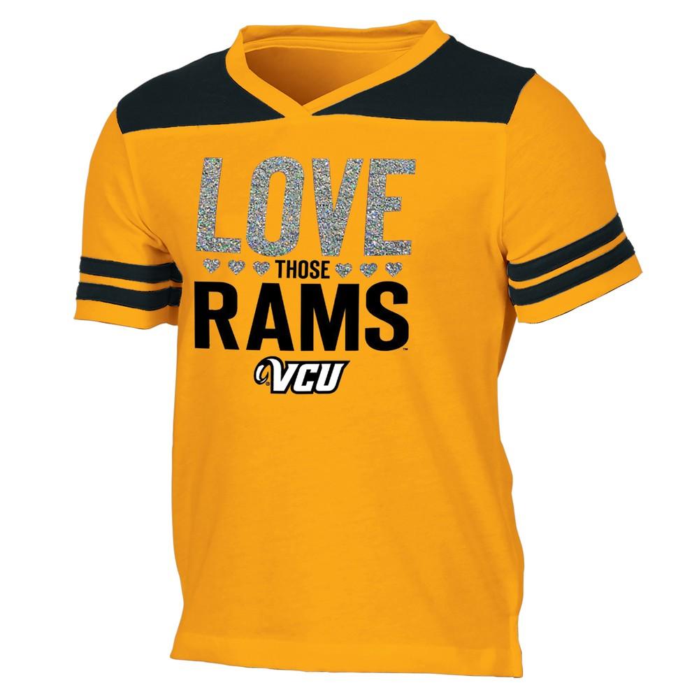 Vcu Rams Girls' Short Sleeve Team Love V-Neck T-Shirt XL, Multicolored