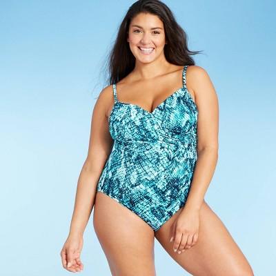 Women's Twist-Front Over the Shoulder One Piece Swimsuit - Aqua Green® Blue
