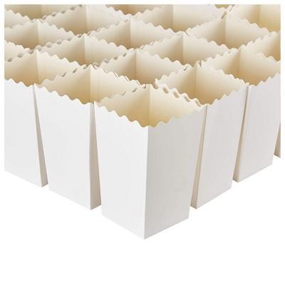 100 Popcorn Favor Boxes 20oz Mini Paper Containers, Plain White 3.3 x 5.5 x 3.3