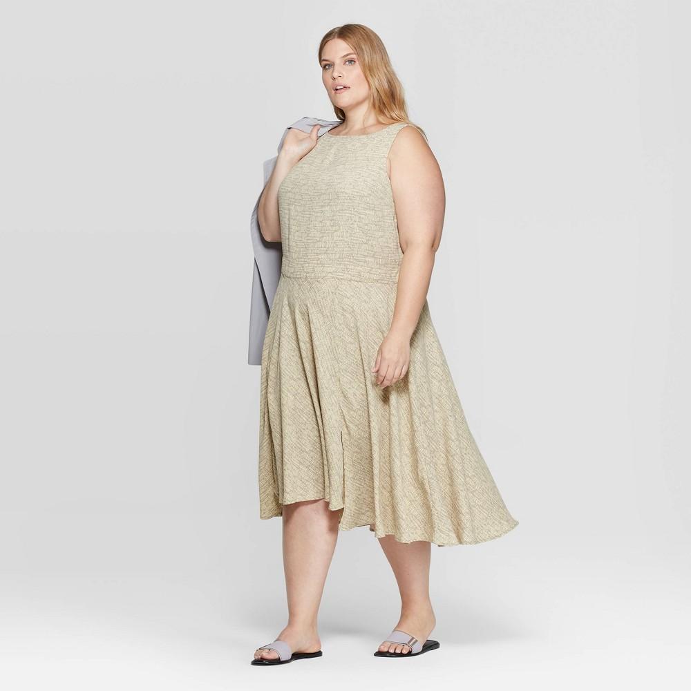 Best Price Women Plus Size Boat Neck Bias Skirt Dress Prologue Yellow 2X