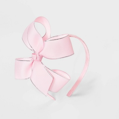 Girls' Lurex Ribbon Bow Headband - Cat & Jack™ Pink