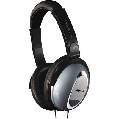 Maxell Noise Cancellation Headphones - Stereo - Black, Gray - Mini-phone - Wired - 60 Ohm - 10 Hz 28 kHz - Nickel Plated Connector - Over-the-head