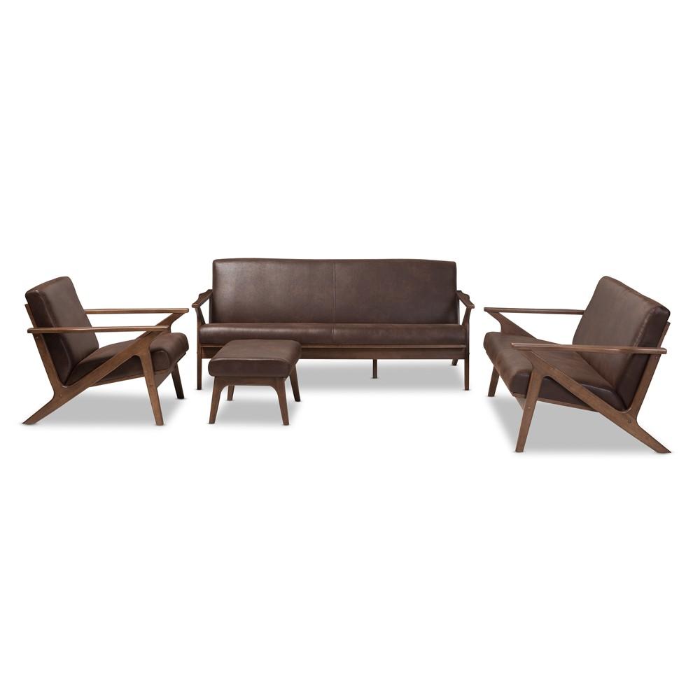 4pc Bianca Mid Modern Walnut Wood Distressed Faux Leather Living Room Sofa Set Dark Brown - Baxton Studio