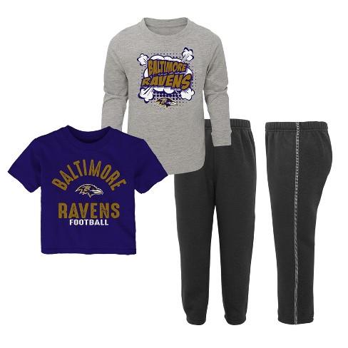 NFL Baltimore Ravens Toddler Gametime Fun 3pk Shirt  Pants Set c8fdee1eb