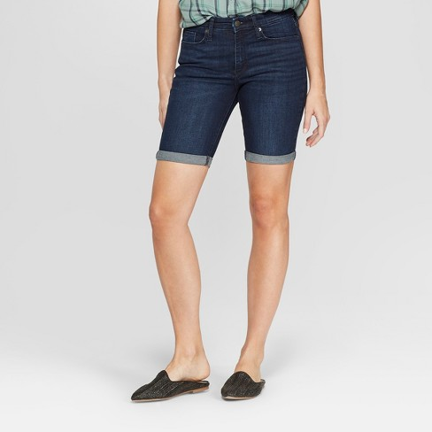 Women's High-Rise Bermuda Jean Shorts - Universal Thread™ Dark Wash - image 1 of 3