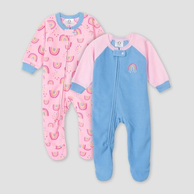 Gerber Baby Girls' 2pk Rainbow Footed Pajama - Blue 12M