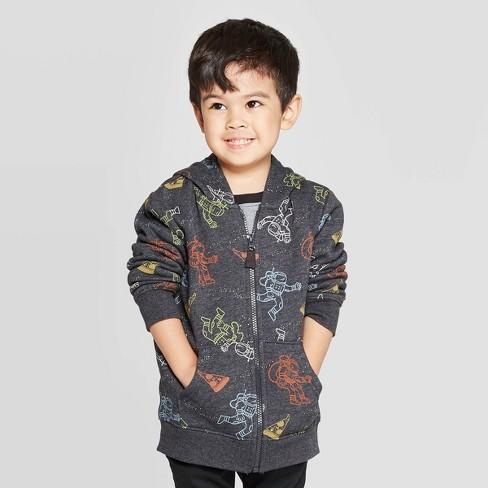 Toddler Boys' Astronaut Fleece Zip-Up Hooded Sweatshirt - Cat & Jack™ Black - image 1 of 3