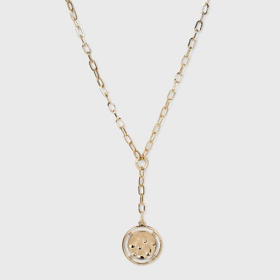 Coin Pendant Chain Y Necklace - A New Day™ Gold