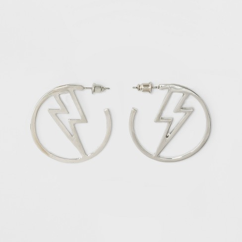 Open Hoop With Lighting Bolt Earrings Rhodium