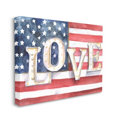 Stupell Industries Vintage Love Text Over Stitched American Flag