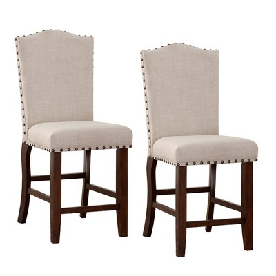 Set of 2 Rubber Wood Counter Height Barstools with Studded Trim Cream/Brown - Benzara