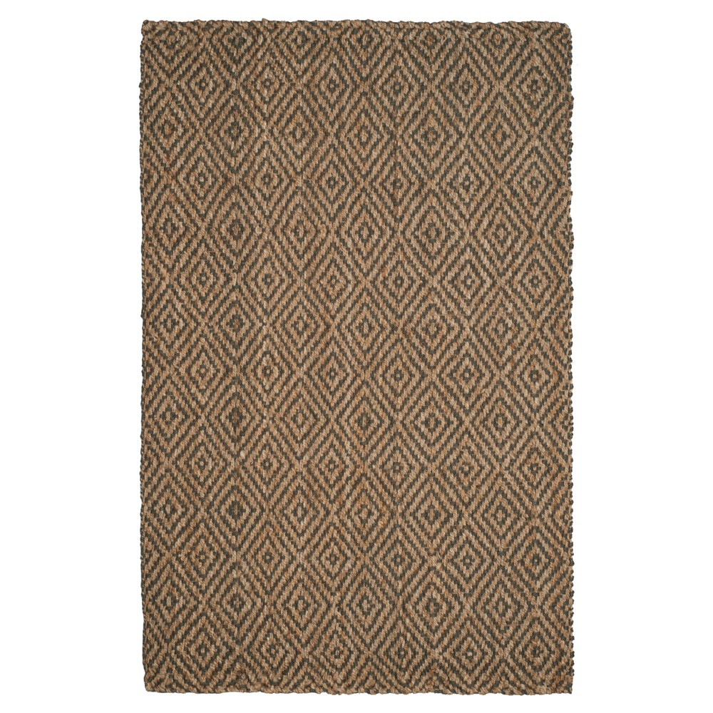 Natural/Gray Abstract Hooked Area Rug - (5'X8') - Safavieh