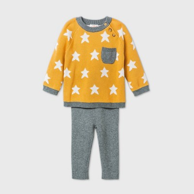 Baby Boys' Gold Star Striped Sweater Top & Bottom Set - Cat & Jack™ Yellow 6-9M
