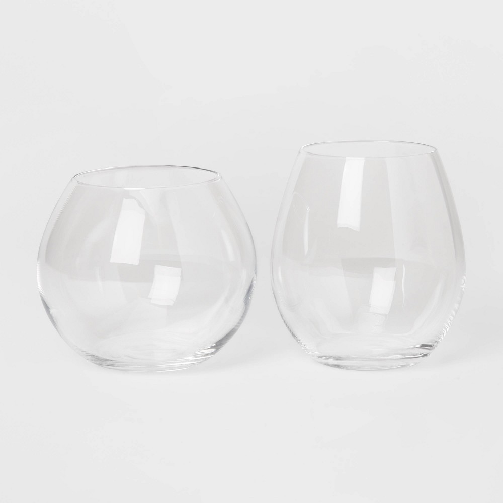 Image of 12pk Glass Tall and Short Stemless Wine Glass Set - Threshold , Clear