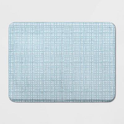 23 x17  Grid Memory Foam Bath Rug Blue - Room Essentials™