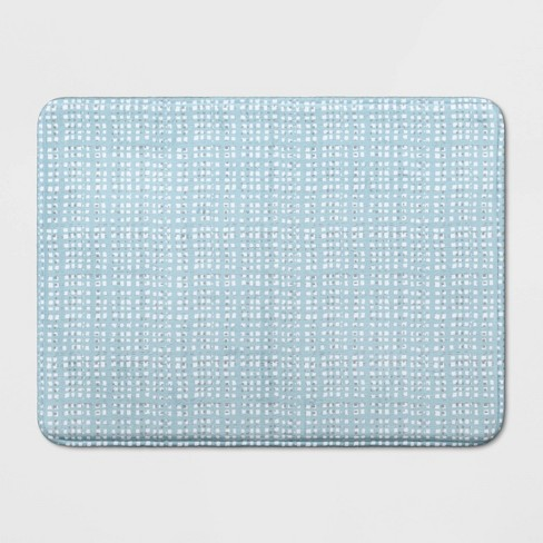 "23""x17"" Grid Memory Foam Bath Rug Blue - Room Essentials™ - image 1 of 3"