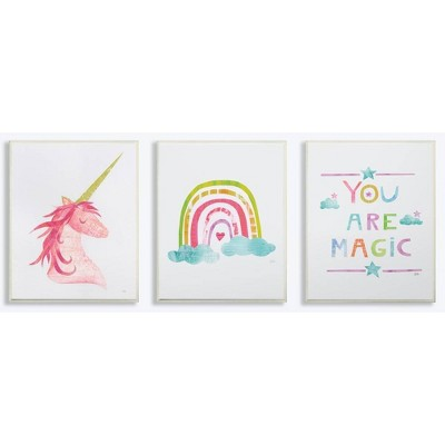 3pc 10 x0.5 x15  You Are Magic Rainbow and Unicorn Wall Plaque Art Se - Stupell Industries