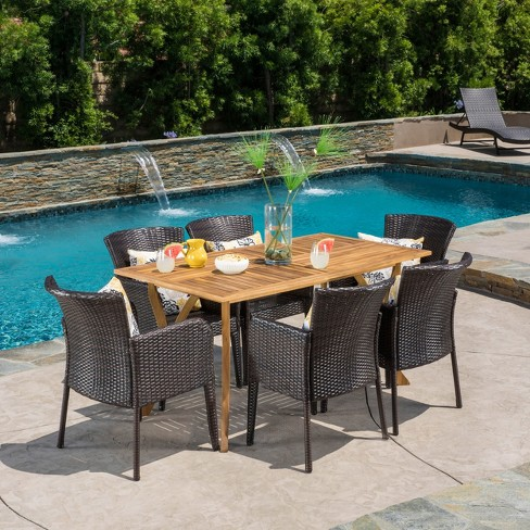Henaya 7pc Wood and Wicker Dining Set - Multibrown/Teak - Christopher Knight Home - image 1 of 4