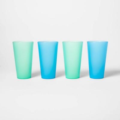 21oz 4pk Plastic Tumblers Blue/Green - Sun Squad™