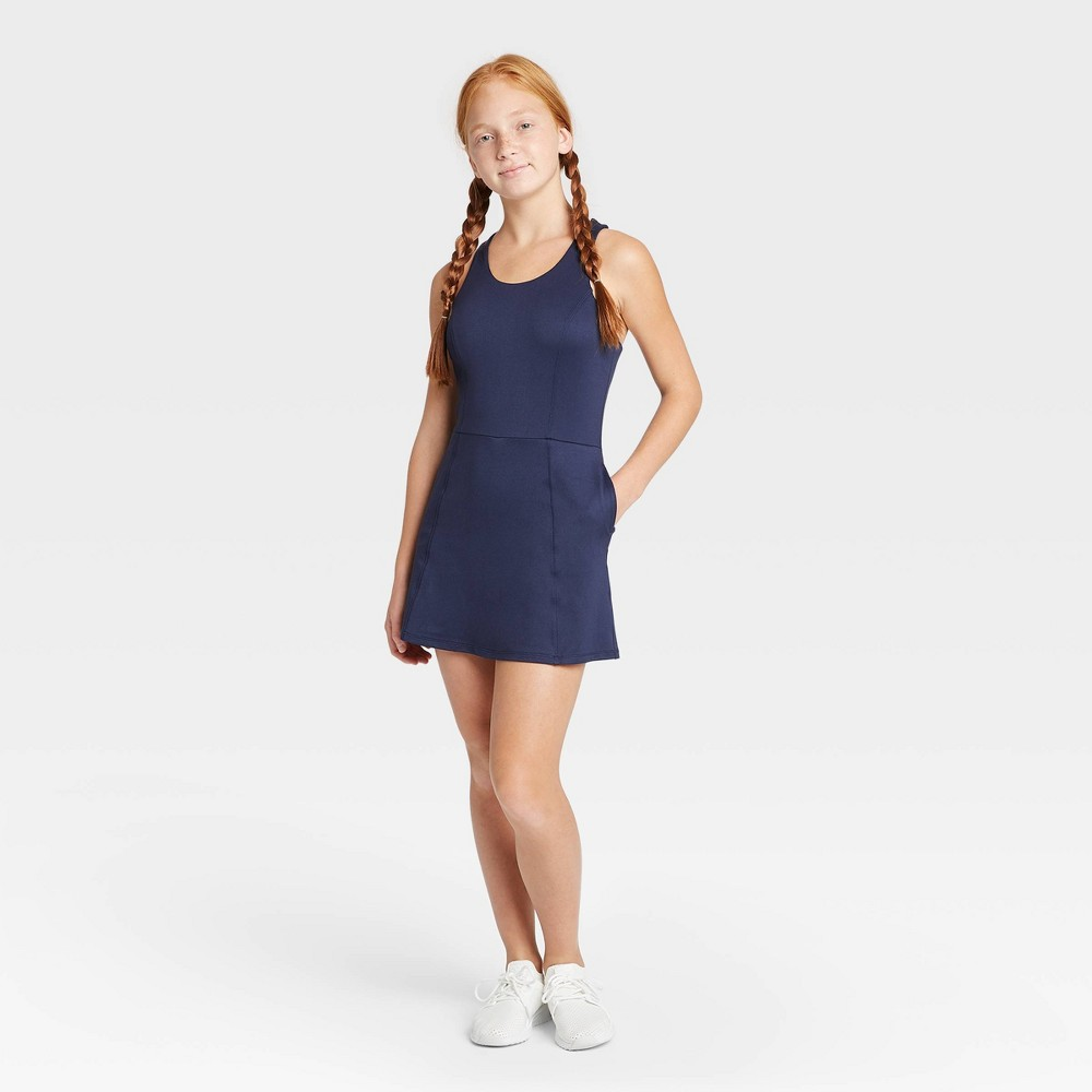 Image of Girls' Criss Cross Back Tennis Dress - All in Motion Navy L, Girl's, Size: Large, Blue